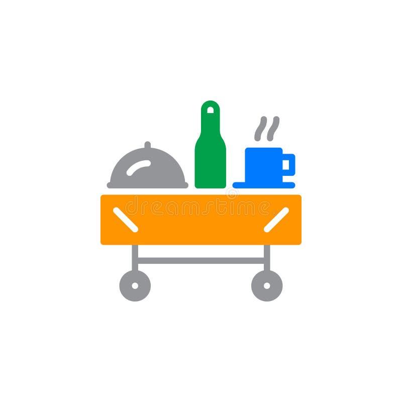 Het pictogram vector, gevuld vlak teken van de ontbijtbediening op de kamer, stevig kleurrijk die pictogram op wit wordt geïsolee stock illustratie