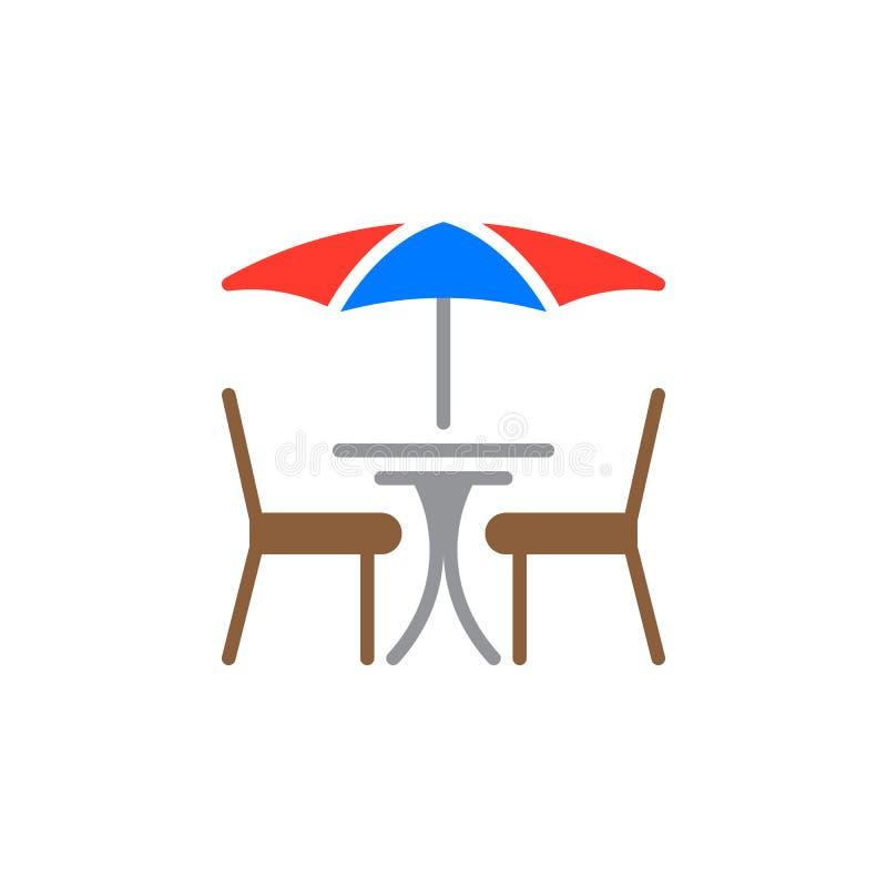 Het pictogram vector, gevuld vlak teken van de straatkoffie, stevig kleurrijk die pictogram op wit wordt geïsoleerd royalty-vrije illustratie