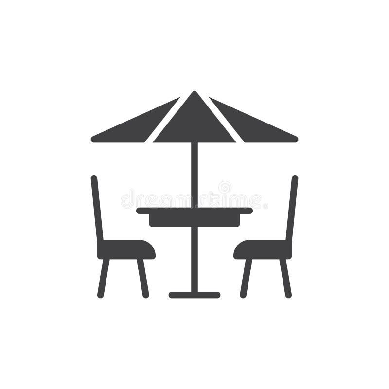 Het pictogram vector, gevuld vlak teken van de terraskoffie vector illustratie