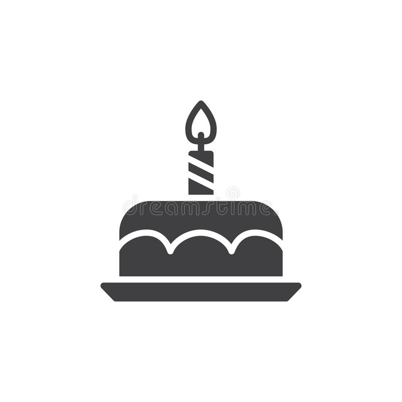Het pictogram vector, gevuld vlak teken van de verjaardagscake, stevig die pictogram op wit wordt geïsoleerd stock illustratie