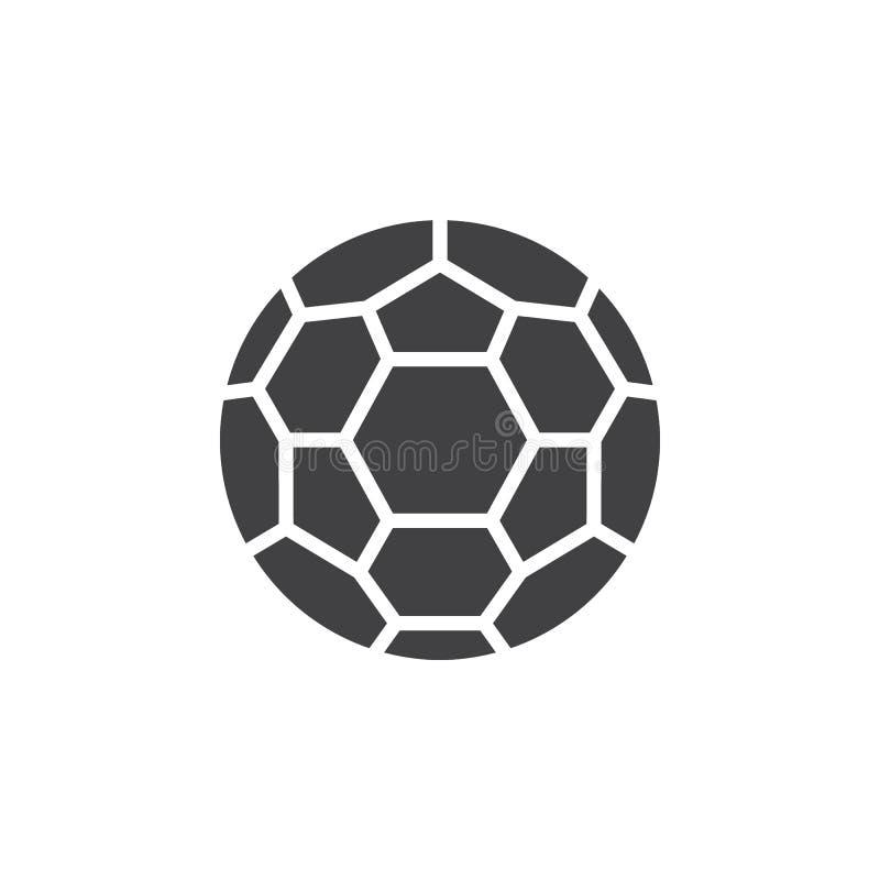 Het pictogram vector, gevuld vlak teken van de voetbalbal, stevig die pictogram op wit wordt geïsoleerd royalty-vrije illustratie