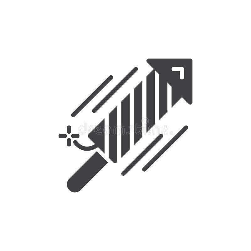 Het pictogram vector, gevuld vlak teken van de vuurwerkraket, stevig die pictogram op wit wordt geïsoleerd vector illustratie