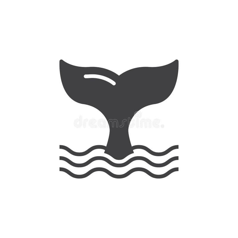 Het pictogram vector, gevuld vlak teken van de walvisstaart vector illustratie