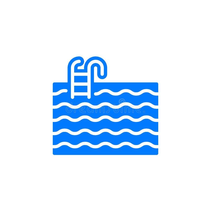 Het pictogram vector, gevuld vlak teken van de waterpool, stevig kleurrijk die pictogram op wit wordt geïsoleerd royalty-vrije illustratie