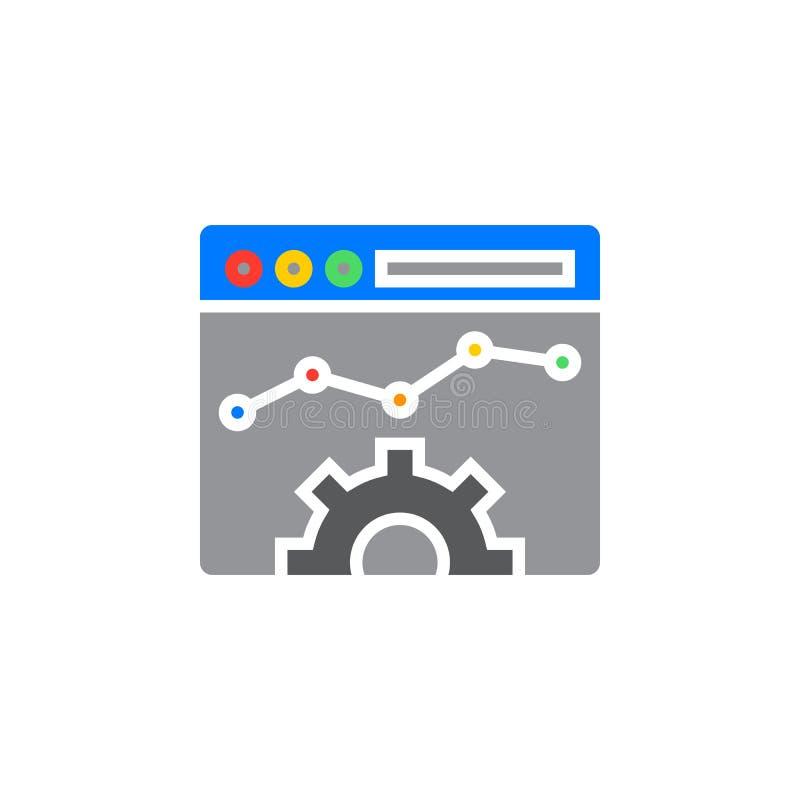 Het pictogram vector, gevuld vlak teken van de websiteoptimalisering, vast lichaam colorf vector illustratie