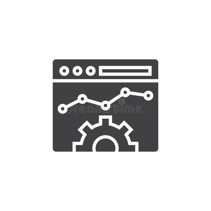 Het pictogram vector, gevuld vlak teken van de websiteoptimalisering, vast lichaam pictog royalty-vrije illustratie