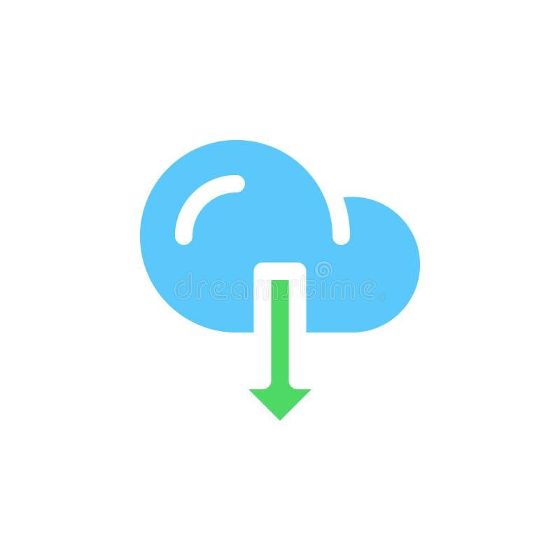 Het pictogram vector, gevuld vlak teken van de wolkendownload, stevig kleurrijk pictogram op wit vector illustratie
