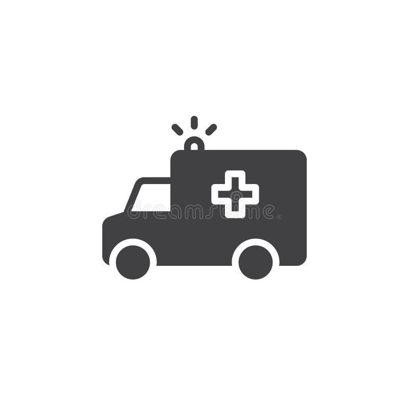 Het pictogram vector, gevuld vlak teken van de ziekenwagenvrachtwagen, stevig die pictogram op wit wordt geïsoleerd stock illustratie