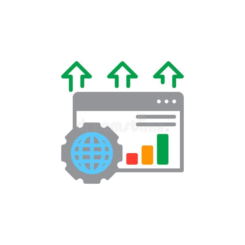 Het pictogram vector, gevuld vlak teken van de zoekmachineoptimalisering, stevig kleurrijk pictogram op wit vector illustratie