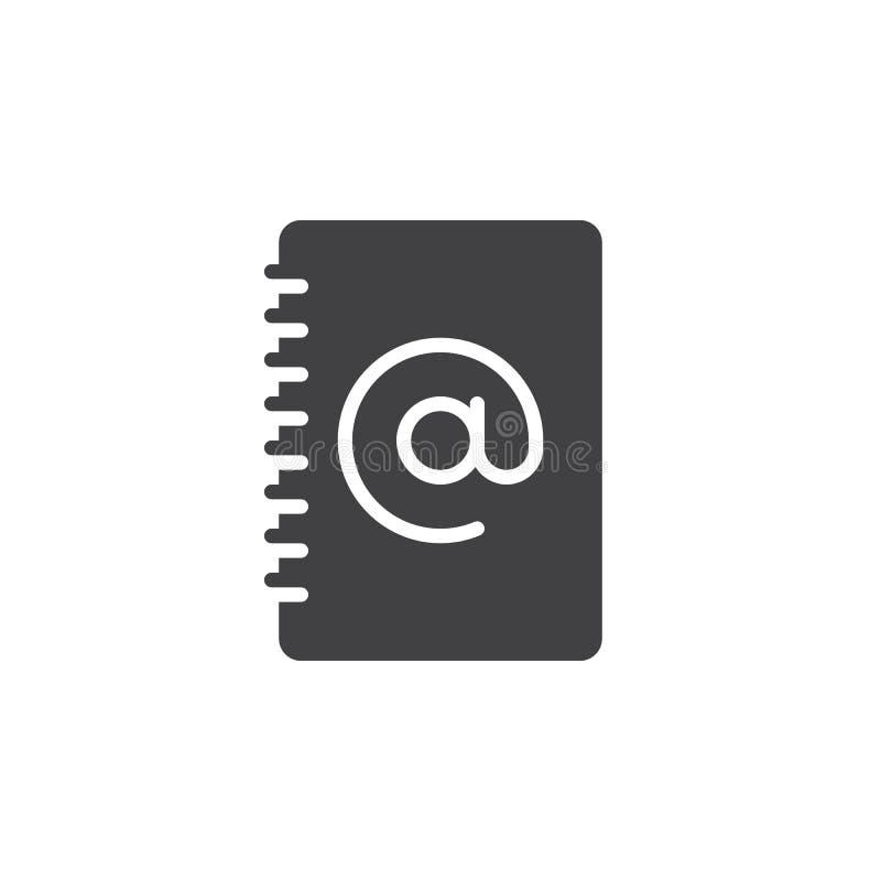 Het pictogram vector, gevuld vlak teken van het adresboek, stevig die pictogram op wit wordt geïsoleerd vector illustratie
