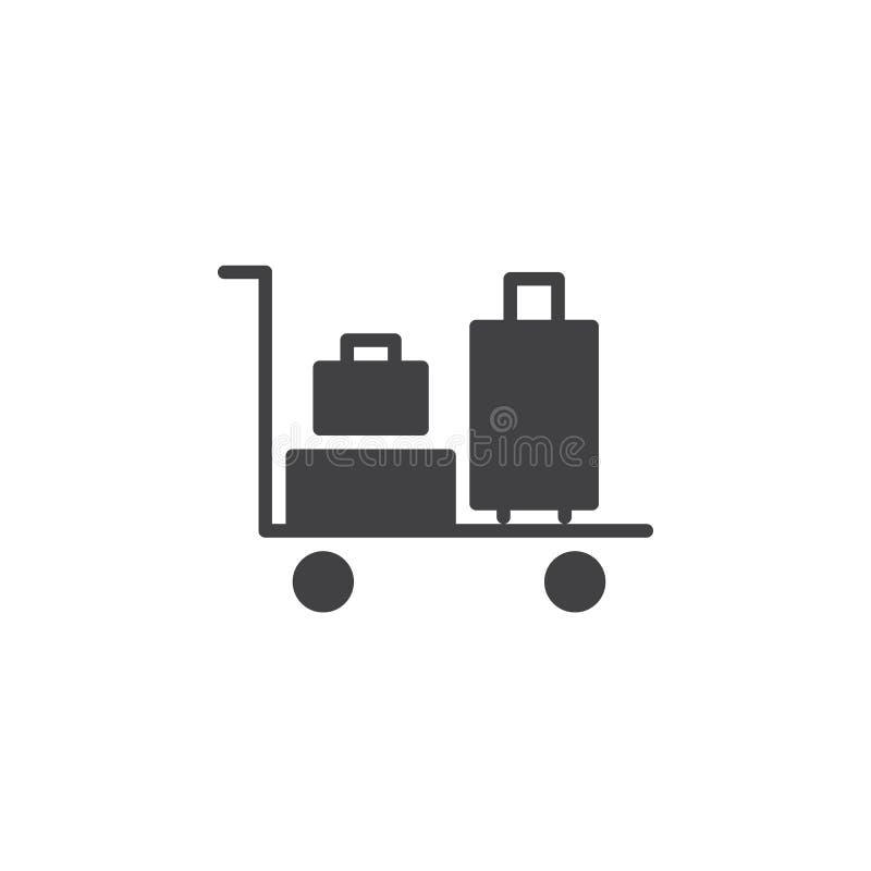 Het pictogram vector, gevuld vlak teken van het bagagekarretje, stevig die pictogram op wit wordt geïsoleerd royalty-vrije illustratie
