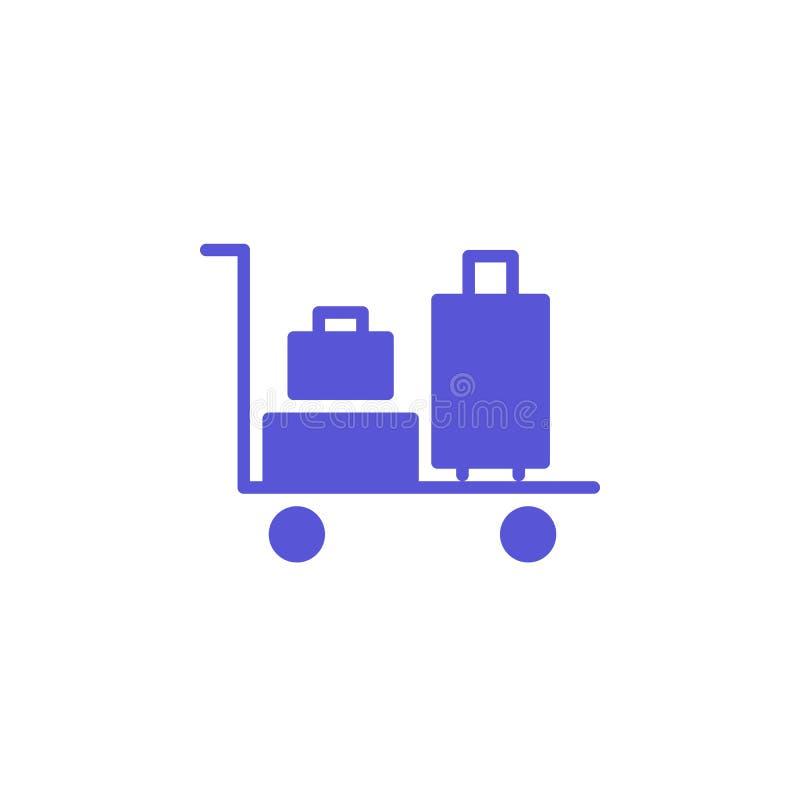 Het pictogram vector, gevuld vlak teken van het bagagekarretje, stevig kleurrijk die pictogram op wit wordt geïsoleerd royalty-vrije illustratie