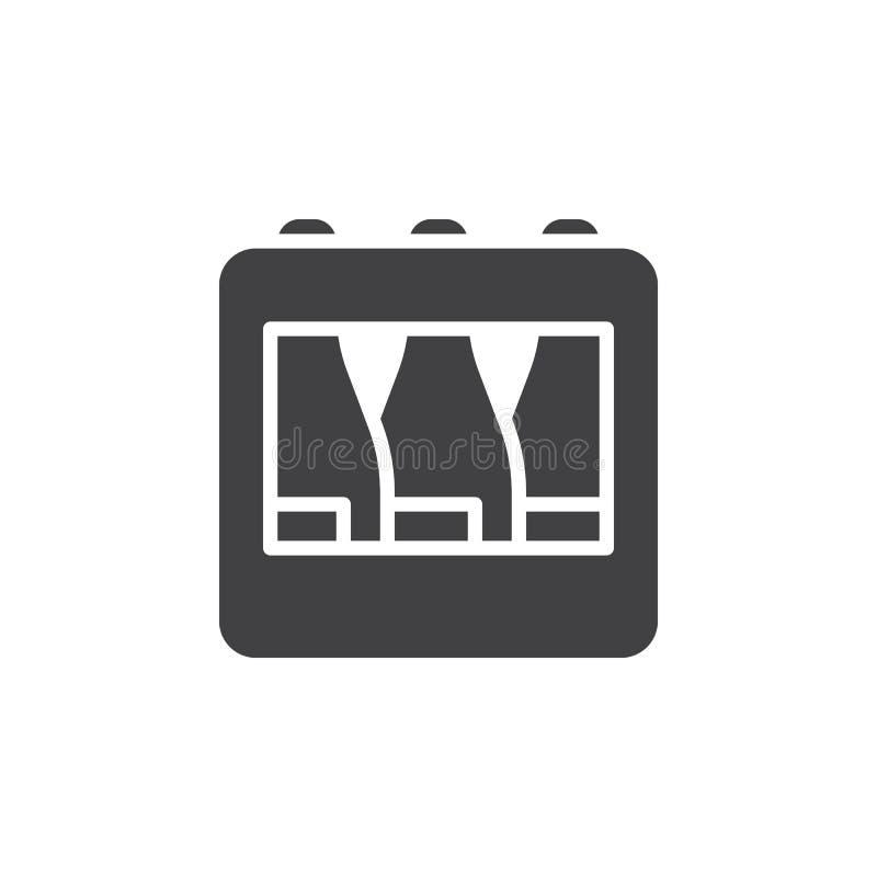 Het pictogram vector, gevuld vlak teken van het flessenkrat, stevig die pictogram op wit wordt geïsoleerd vector illustratie