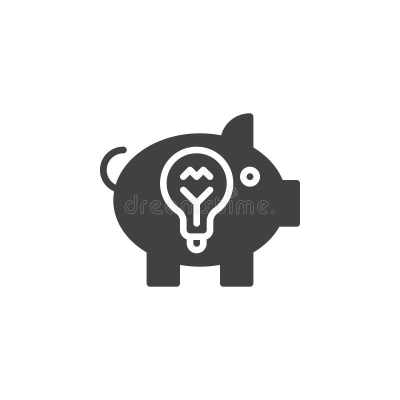 Het pictogram vector, gevuld vlak teken van het ideespaarvarken, stevig die pictogram op wit wordt geïsoleerd stock illustratie