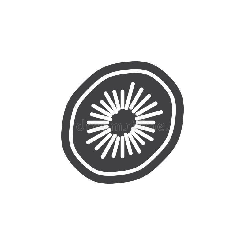 Het pictogram vector, gevuld vlak teken van het kiwifruit, stevig die pictogram op wit wordt geïsoleerd vector illustratie