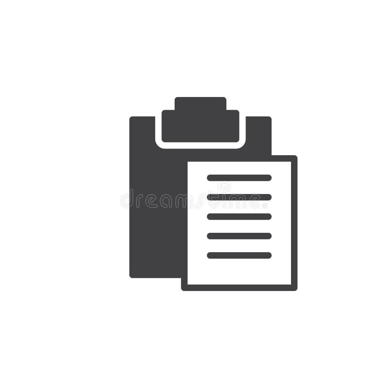 Het pictogram vector, gevuld vlak teken van het klemborddeeg, stevig die pictogram op wit wordt geïsoleerd vector illustratie