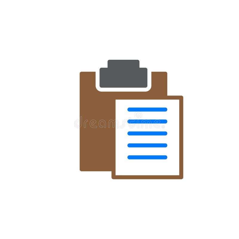 Het pictogram vector, gevuld vlak teken van het klemborddeeg, stevig kleurrijk pictogram dat op wit wordt geïsoleerd stock illustratie