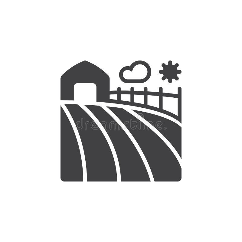 Het pictogram vector, gevuld vlak teken van het landbouwbedrijfgebied, stevig pictogram isolat vector illustratie