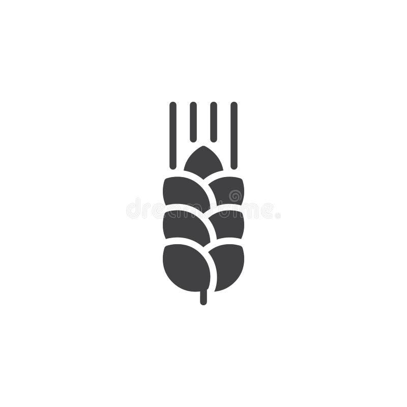Het pictogram vector, gevuld vlak teken van het tarweoor, stevig die pictogram op wit wordt geïsoleerd vector illustratie