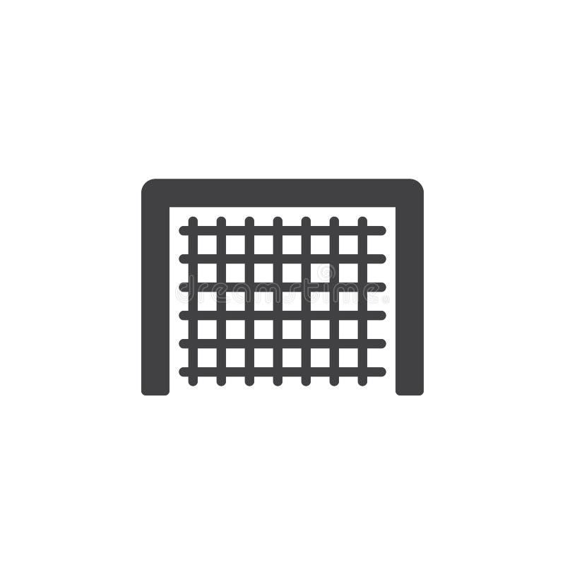 Het pictogram vector, gevuld vlak teken van het voetbaldoel, stevig die pictogram op wit wordt geïsoleerd vector illustratie