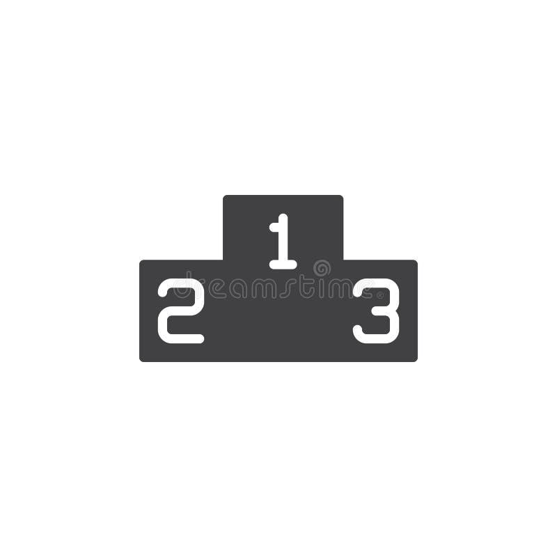 Het pictogram vector, gevuld vlak teken van het winnaarspodium, stevig die pictogram op wit wordt geïsoleerd vector illustratie
