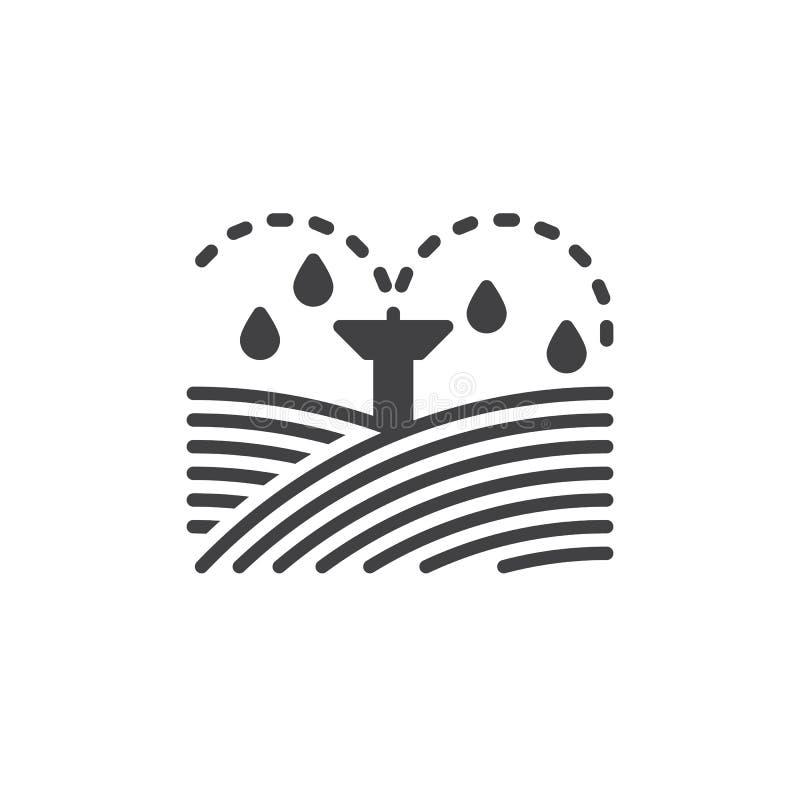 Het pictogram vector, gevuld vlak teken van irrigatiesproeiers, stevig die pictogram op wit wordt geïsoleerd Symbool, embleemillu vector illustratie