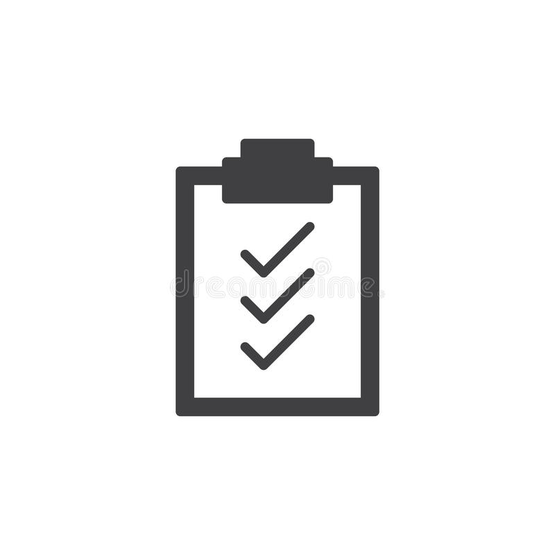 Het pictogram vector, gevuld vlak teken van klembordvinkjes, stevig die pictogram op wit wordt geïsoleerd stock illustratie
