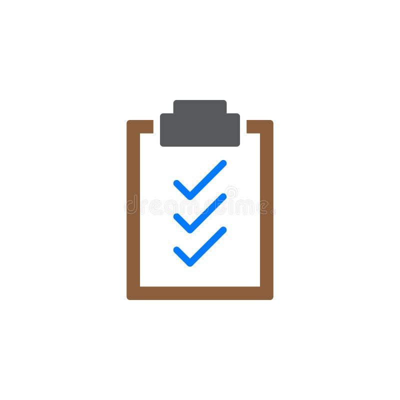 Het pictogram vector, gevuld vlak teken van klembordvinkjes, stevig kleurrijk die pictogram op wit wordt geïsoleerd stock illustratie