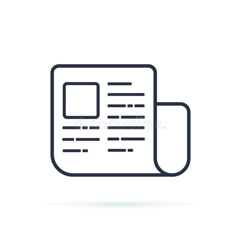 Het pictogram vectorbeeld van krantenlijnen Het symbool van het nieuwsdagboek De digitale knoop van de documentdownload voor webs royalty-vrije illustratie