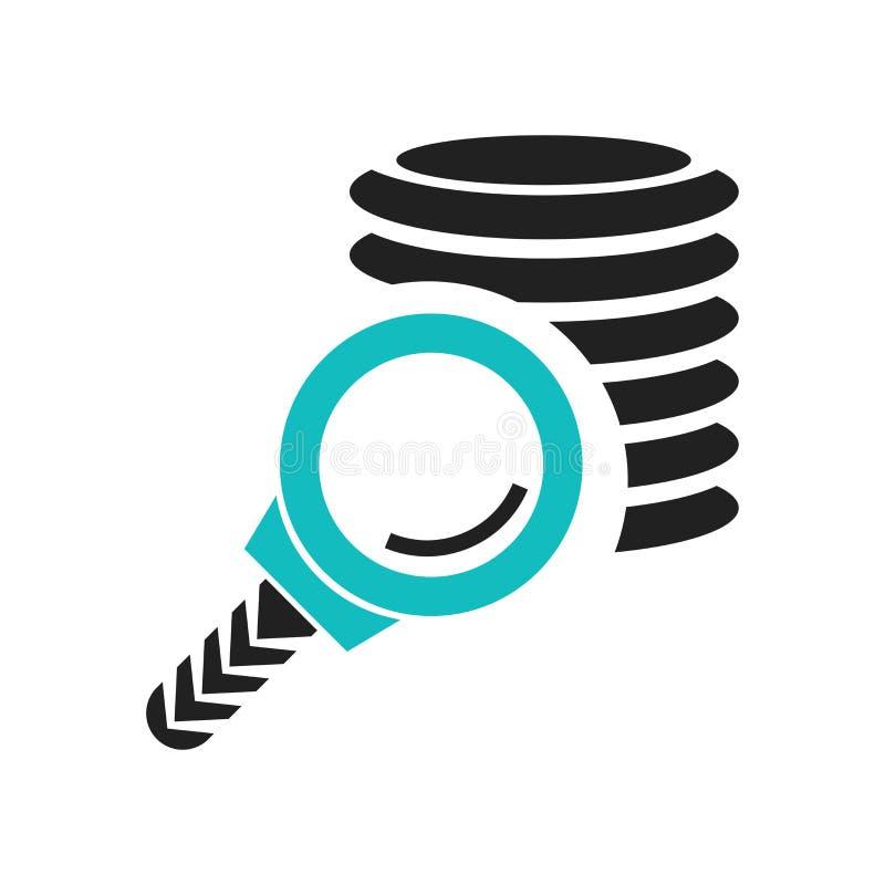 Het pictogram vectordieteken en symbool van de databaseanalyse op witte achtergrond, het embleemconcept wordt geïsoleerd van de D stock illustratie