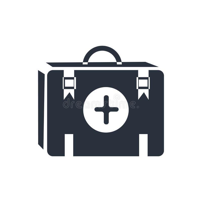 Het pictogram vectordieteken en symbool van de eerste hulpuitrusting op witte achtergrond, het embleemconcept wordt geïsoleerd va stock illustratie
