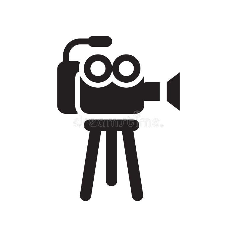 Het pictogram vectordieteken en symbool van de filmcamera op witte backgr wordt geïsoleerd royalty-vrije illustratie