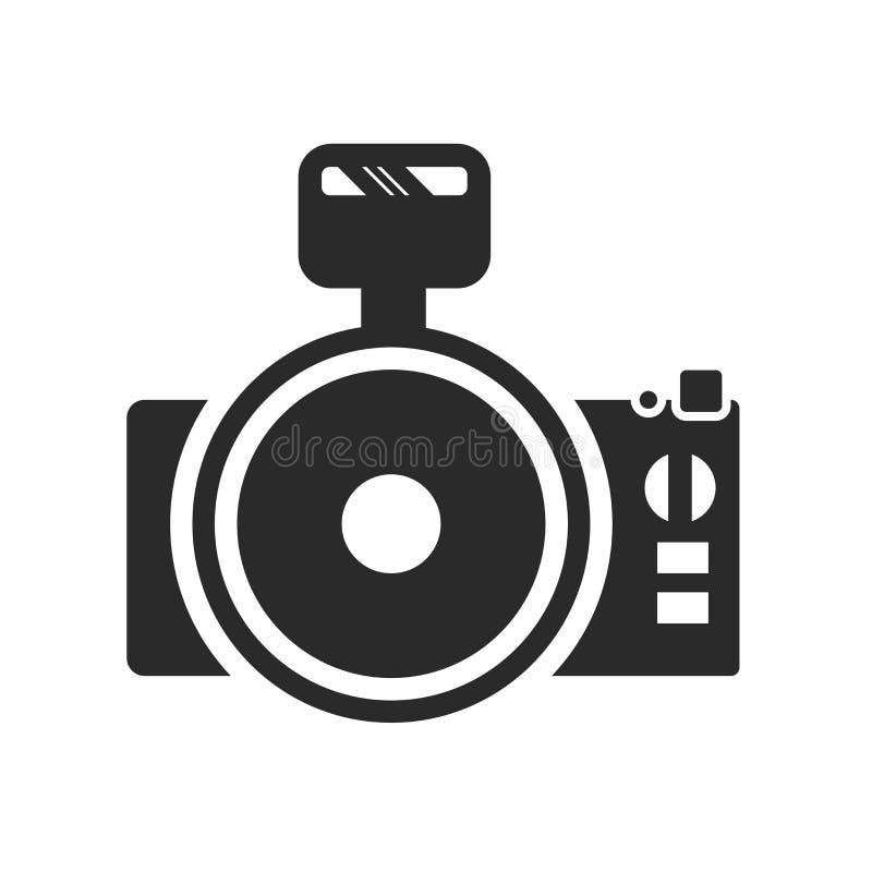 Het pictogram vectordieteken en symbool van de fotocamera op witte achtergrond, het embleemconcept wordt geïsoleerd van de Fotoca royalty-vrije illustratie