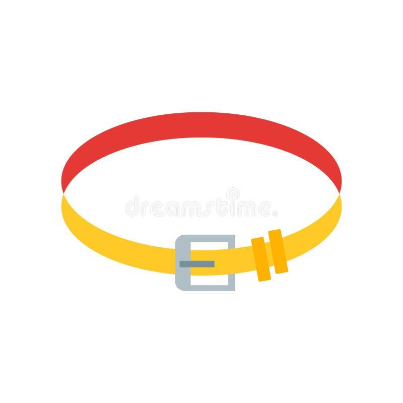 Het pictogram vectordieteken en symbool van de gymnastiekriem op witte backgroun wordt geïsoleerd vector illustratie