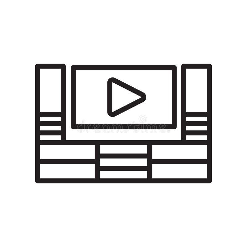 Het pictogram vectordieteken en symbool van de huisbioskoop op witte backgr wordt geïsoleerd stock illustratie