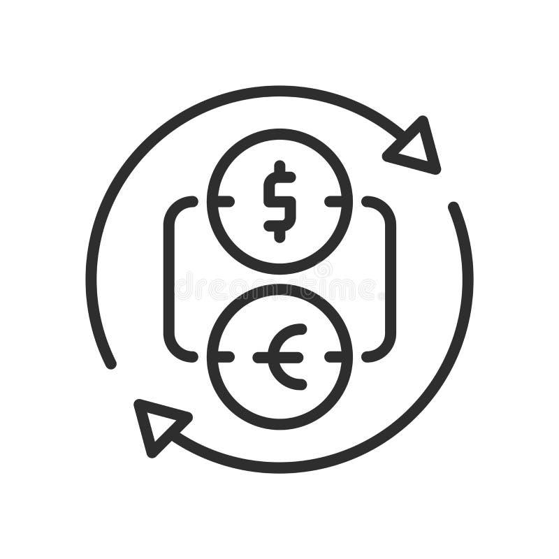 Het pictogram vectordieteken en symbool van de muntuitwisseling op wit wordt geïsoleerd stock illustratie