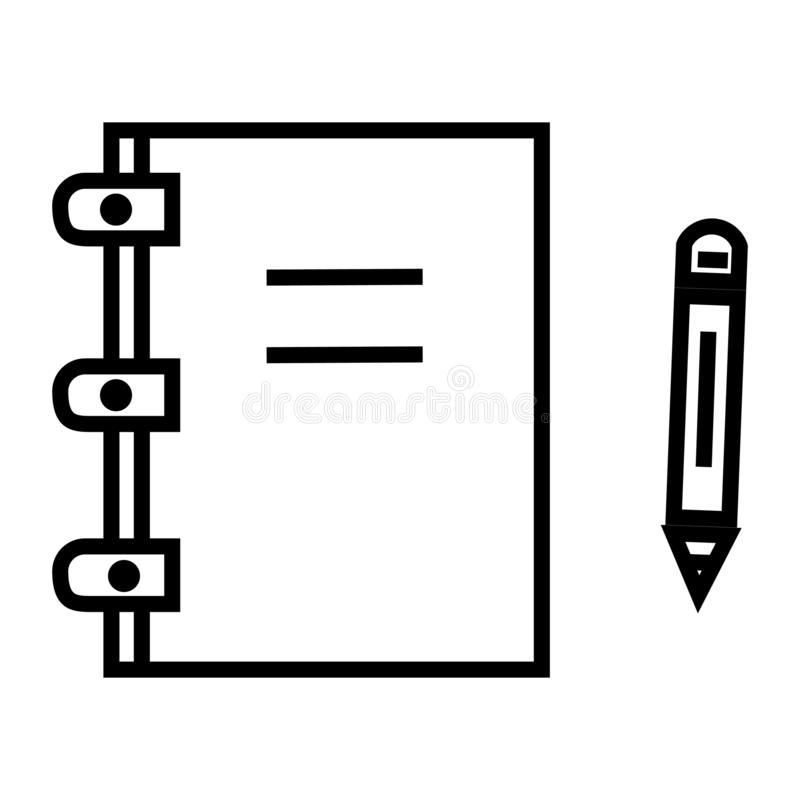 Het pictogram vectordieteken en symbool van de notablog op witte achtergrond, het embleemconcept wordt geïsoleerd van de Notablog stock illustratie