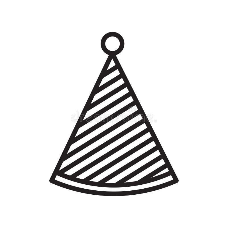 Het pictogram vectordieteken en symbool van de partijhoed op witte backgrou wordt geïsoleerd stock illustratie