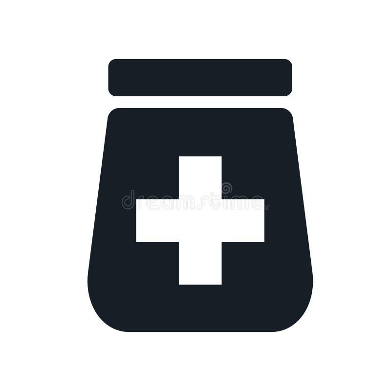 Het pictogram vectordieteken en symbool van de pillenkruik op witte achtergrond, het embleemconcept wordt geïsoleerd van de Pille vector illustratie