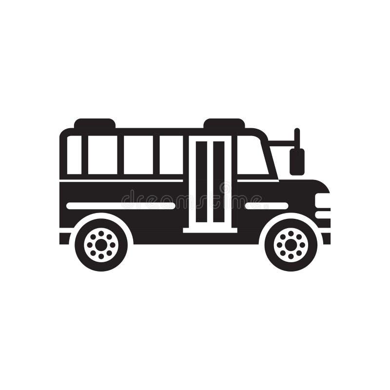 Het pictogram vectordieteken en symbool van de schoolbus op witte backgro wordt geïsoleerd royalty-vrije illustratie