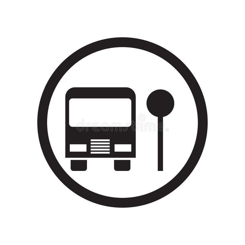 Het pictogram vectordieteken en symbool van de schoolbushalte op witte achtergrond, het embleemconcept wordt geïsoleerd van de Sc royalty-vrije illustratie