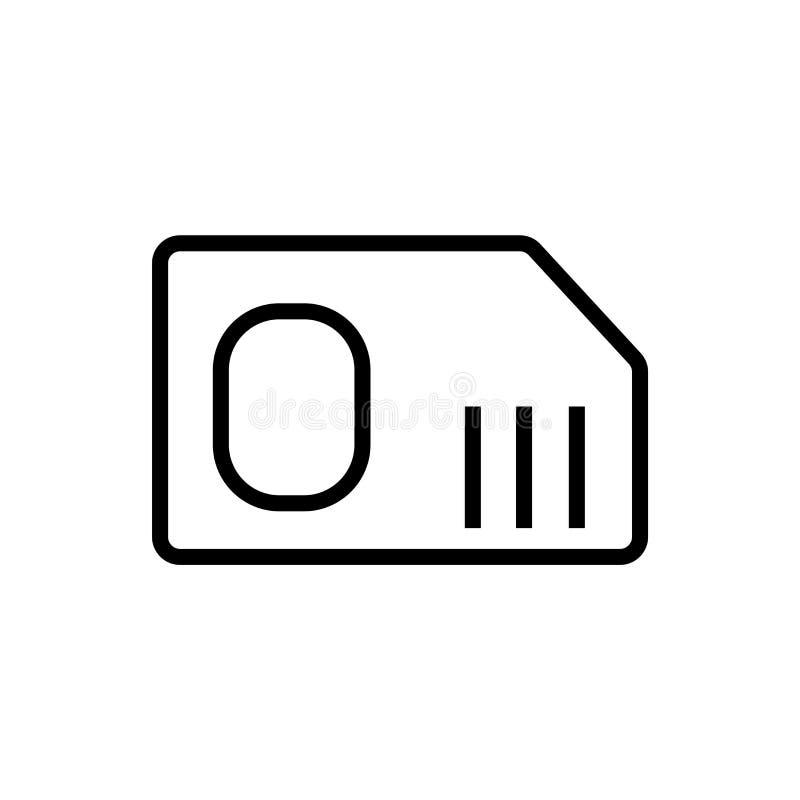 Het pictogram vectordieteken en symbool van de Simkaart op witte achtergrond, Sim-het concept van het kaartembleem wordt geïsolee royalty-vrije illustratie