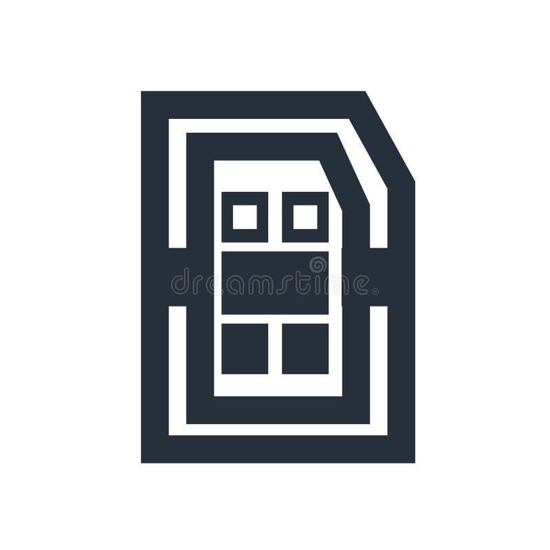 Het pictogram vectordieteken en symbool van de Simkaart op witte achtergrond, Sim-het concept van het kaartembleem wordt geïsolee stock illustratie
