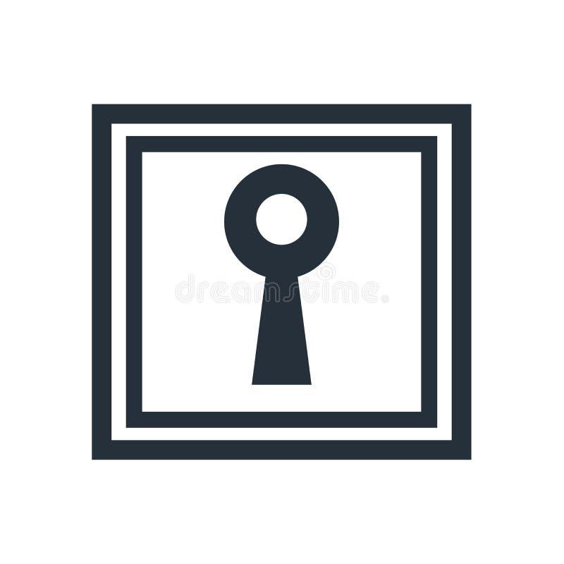 Het pictogram vectordieteken en symbool van de sleutelgatvorm op witte achtergrond, het embleemconcept wordt geïsoleerd van de Sl vector illustratie