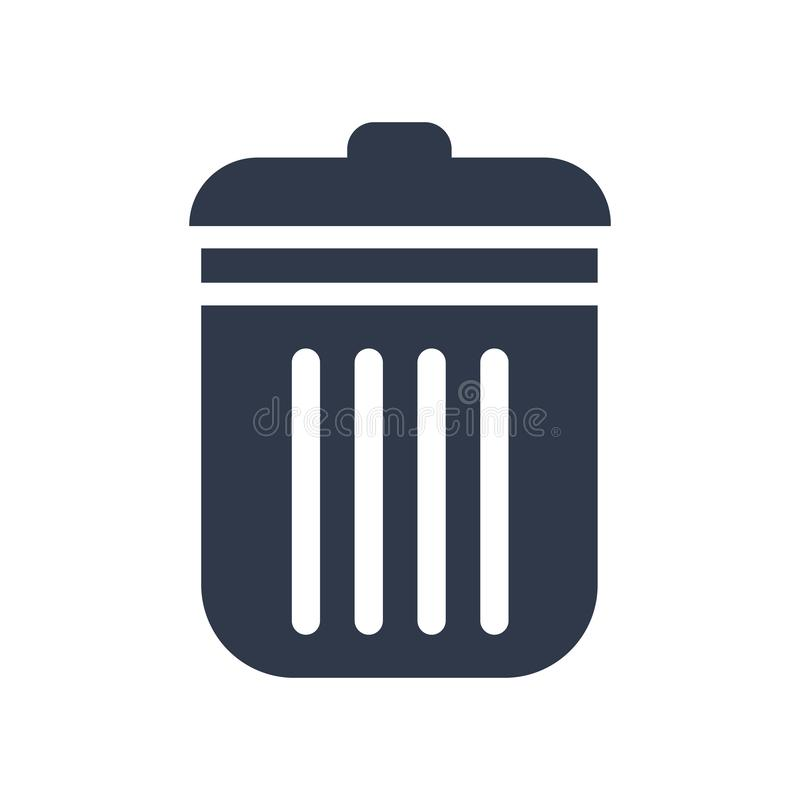 Het pictogram vectordieteken en symbool van de stofbak op witte backgroun wordt geïsoleerd stock illustratie