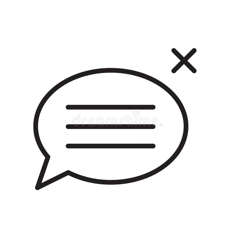 Het pictogram vectordieteken en symbool van de toespraakbel op witte achtergrond, het embleemconcept van de Toespraakbel, overzic royalty-vrije illustratie