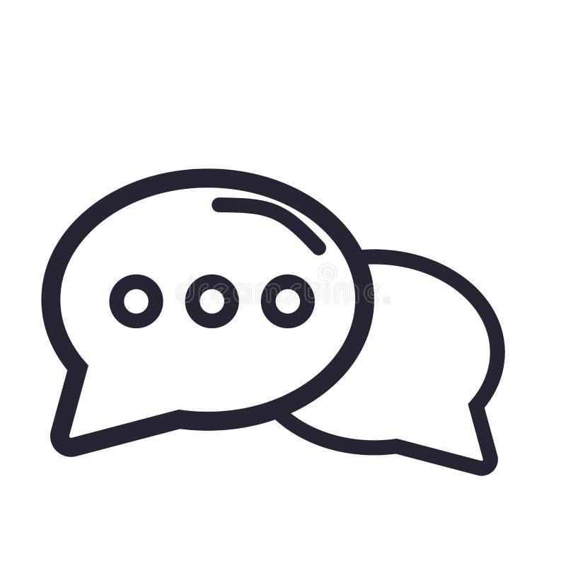 Het pictogram vectordieteken en symbool van de toespraakbel op witte achtergrond, het embleemconcept wordt geïsoleerd van de Toes royalty-vrije illustratie