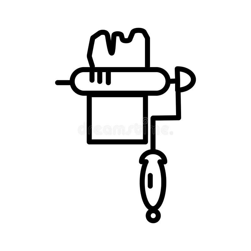 Het pictogram vectordieteken en symbool van de verfrol op witte achtergrond, het embleemconcept wordt geïsoleerd van de Verfrol royalty-vrije illustratie