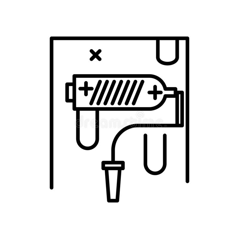 Het pictogram vectordieteken en symbool van de verfrol op witte achtergrond, het embleemconcept wordt geïsoleerd van de Verfrol stock illustratie