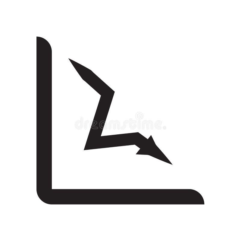 Het pictogram vectordieteken en symbool van de verliesgrafiek op witte backgro wordt geïsoleerd stock illustratie